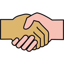 An image of two shaking hands of different races.