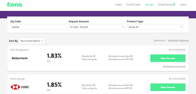 Fiona Review - Savings Account Results