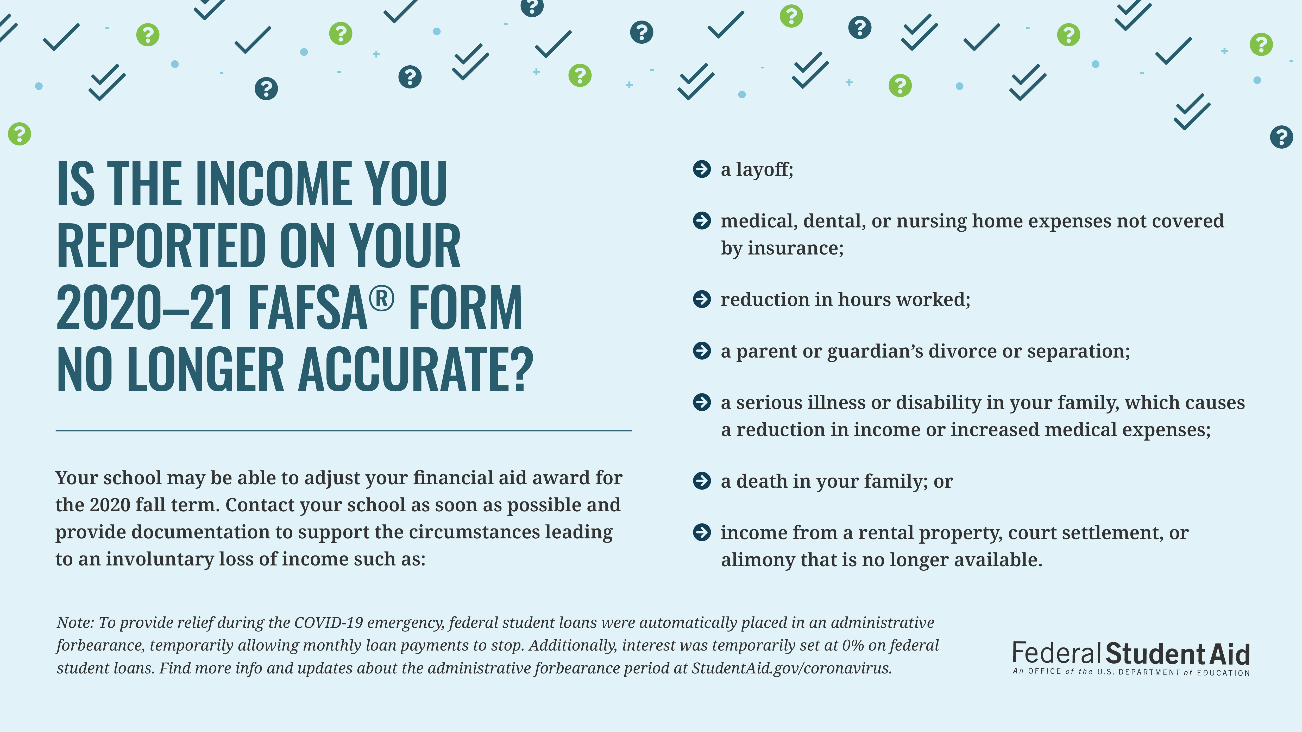 Is the income you reported on your 2020–21 FAFSA® form no longer accurate?  Your school may be able to adjust your financial aid award for the 2020 fall term. Contact your school as soon as possible and provide documentation to support the circumstances leading to an involuntary loss of income such as:   •	A layoff;  •	Incarceration;  •	Reduction in hours worked;  •	A parent or guardian's divorce or separation;  •	A serious illness or disability in your family which causes a reduction in income or increased medical expenses;  •	A death in your family; or   •	Income from a rental property, court settlement, or alimony that is no longer available. Note: To provide relief during the COVID-19 emergency, federal student loans were automatically placed in an administrative forbearance, temporarily allowing monthly loan payments to stop. Additionally, interest was temporarily set at 0% on Federal student loans. Find more info and updates about the administrative forbearance period at StudentAid.gov/coronavirus.