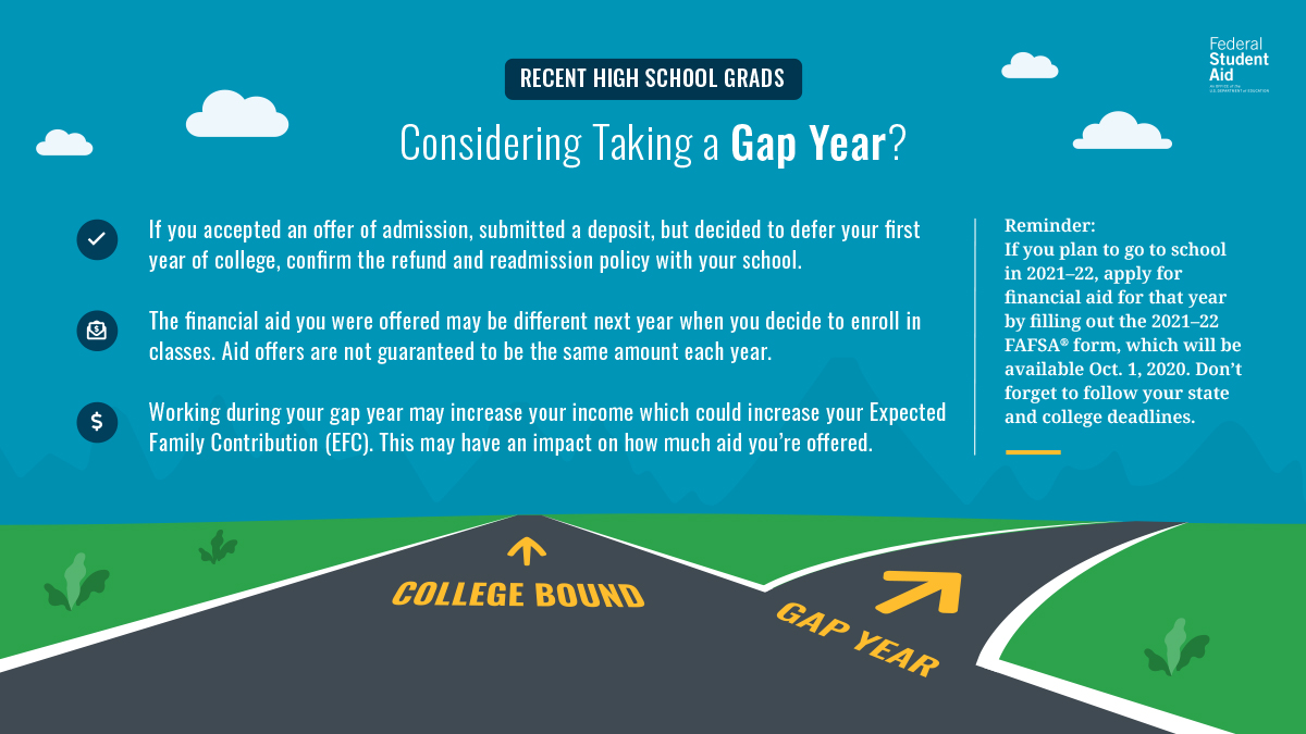 "Image of a crossroads one road reads ""college bound"" and the other reads ""gap year"".   Recent High School Grads: Considering Taking a Gap Year?   •	If you accepted an offer of admission, submitted a deposit, but decided to defer your first year of college, make sure your school has approved your decision.   •	The financial aid you were offered may be different next year when you decide to enroll in classes. Aid offers are not guaranteed to be the same amount each year.   •	Working during your gap year may increase your income which could increase your Expected Family Contribution (EFC). This may have an impact on how much aid you're offered.   Reminder: If you plan to go to school in 2021-22, apply for financial aid for that year by filling out the 2021-22 FAFSA form, which will be available Oct. 1, 2020. Don't forget to follow your state and college deadlines."