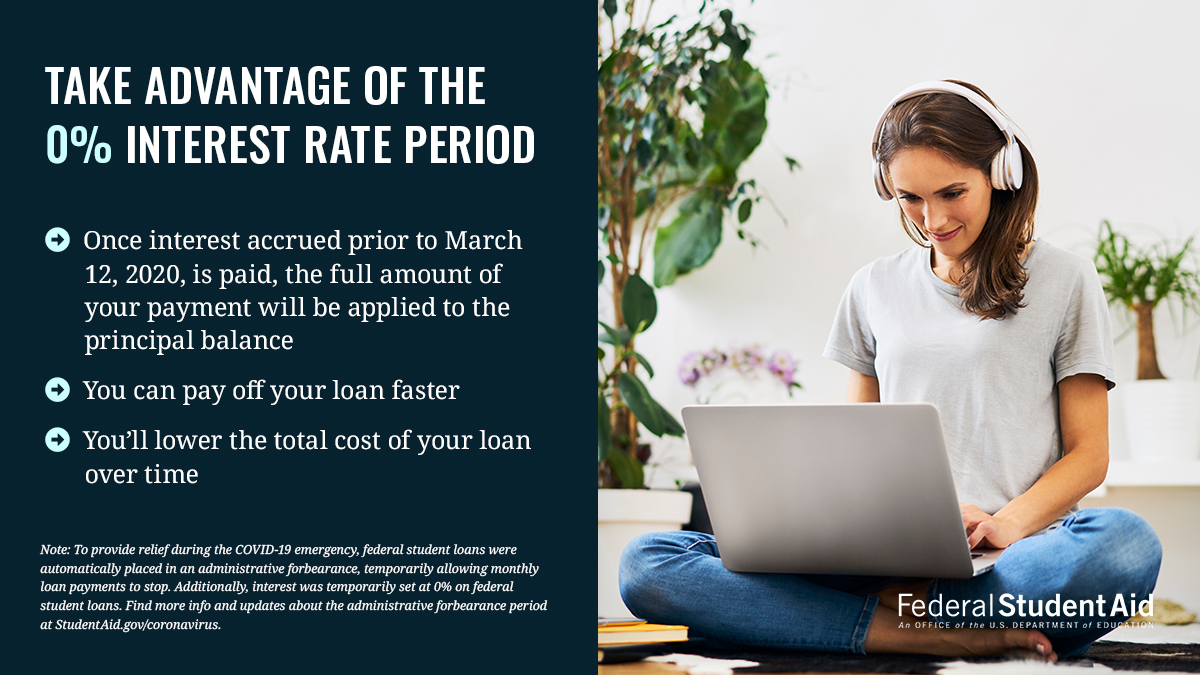 Take advantage of the 0% period  •Once interest accrued prior to March 12, 2020 is paid, the full amount of your payment will be applied to the principal balance •You can pay off your loan faster •You'll lower the total cost of your loan over time  Note: To provide relief during the COVID-19 emergency, federal student loans were automatically placed in an administrative forbearance, temporarily allowing monthly loan payments to stop. Additionally, interest was temporarily set at 0% on federal student loans. Find more info and updates about the administrative forbearance period at StudentAid.gov/coronavirus.   Image of a woman sitting on the floor with her laptop and headphones.