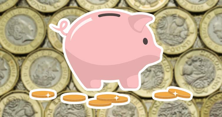 piggy bank surrounded by pound coins