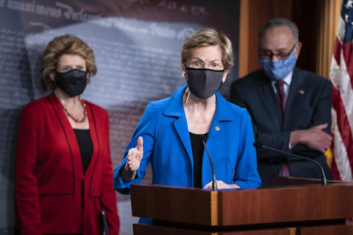 Senator Elizabeth Warren, a Democrat from Massachusetts, speaks during a news conference following the weekly Democratic caucus meeting at the U.S. Capitol in Washington, D.C., U.S., on Tuesday, Oct. 20, 2020. (Sarah Silbiger/Bloomberg via Getty Images)