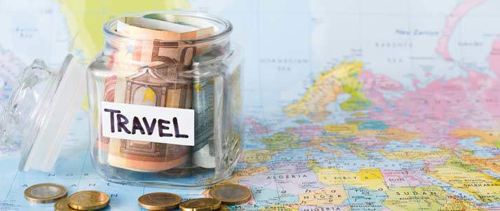 money pot for travel on a map