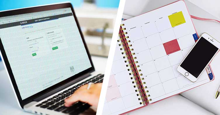 laptop and notepad with calendar