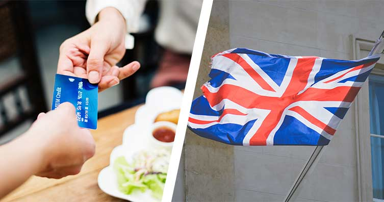 split image of person handing over credit card next to union jack flag